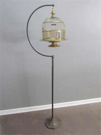 Antique Hedryx Brass Dome Bird Cage with Stand