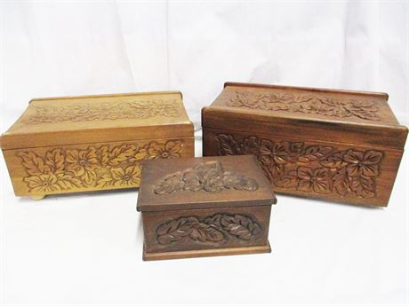 LOT OF 3 HAND-CARVED BOXES