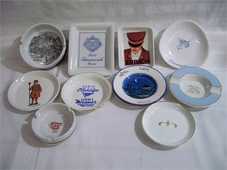 10 PIECE VINTAGE SOUVENIR ASHTRAY/TRINKET DISH LOT