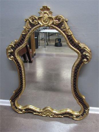 Ornate Mirror with Heavy Gold Gilt Trim