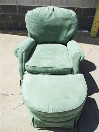 LOVELY SEA GREEN CHAIR AND OTTOMAN BY MICHAEL THOMAS