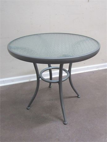METAL PATIO SIDE TABLE WITH GLASS TOP
