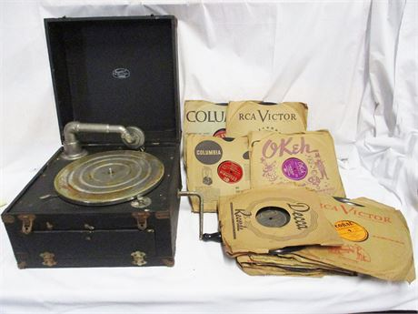 """VINTAGE THOMAS MFG. CO. """"PORTOPHONE"""" RECORD PLAYER AND RECORDS"""