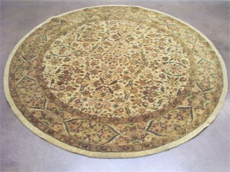 OBEETEE CLASSICS ANTIQUA COLLECTION MUGHAL ROUND HANDWOVEN WOOL RUG