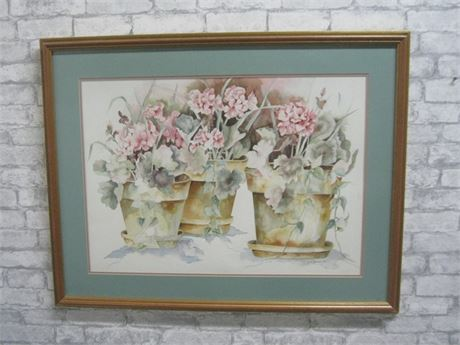 JANE JOHNSON FRAMED AND DOUBLE MATTED FLORAL WATERCOLOR - 1993